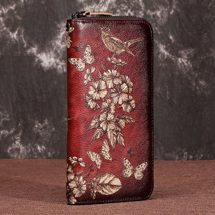 Retro Handmade Lady Wallet Large Phone Clutch Bag Flower Bird Butterfly Embossing Purse