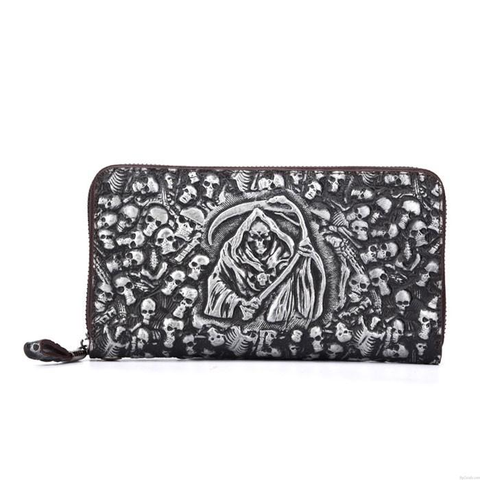 Retro Skull Original Wallet Large Mobile Wallet Punk 3D Grim Reaper Clutch Bag