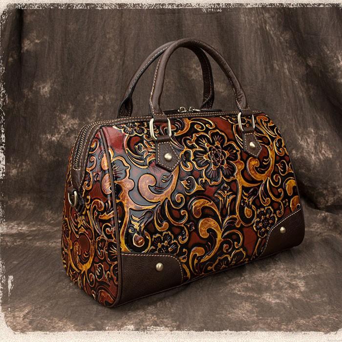 Retro Embossing Travel Rivet Handbag Handmade Embossing Smooth Flower Large Pillow Style Shoulder Bag