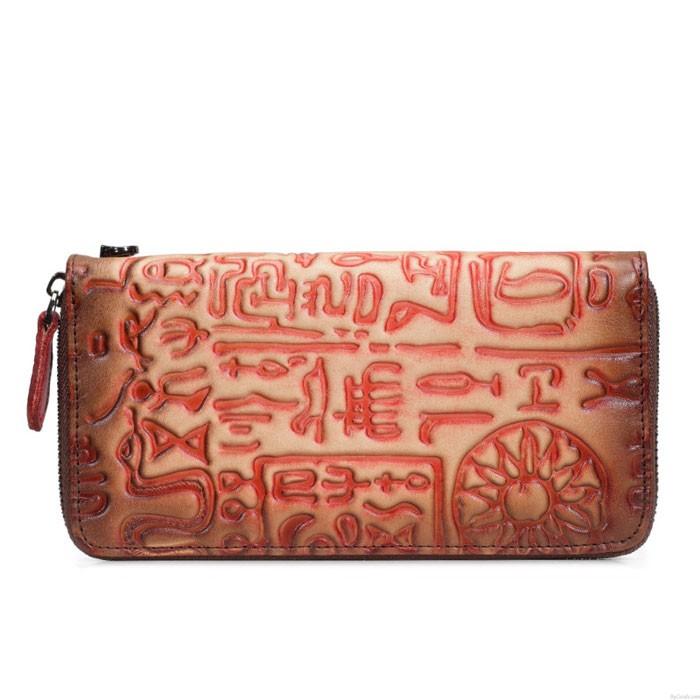 Retro Phone Cowhide Purse Large Ancient Characters Clutch Bag Oracle Plum Long Wallet