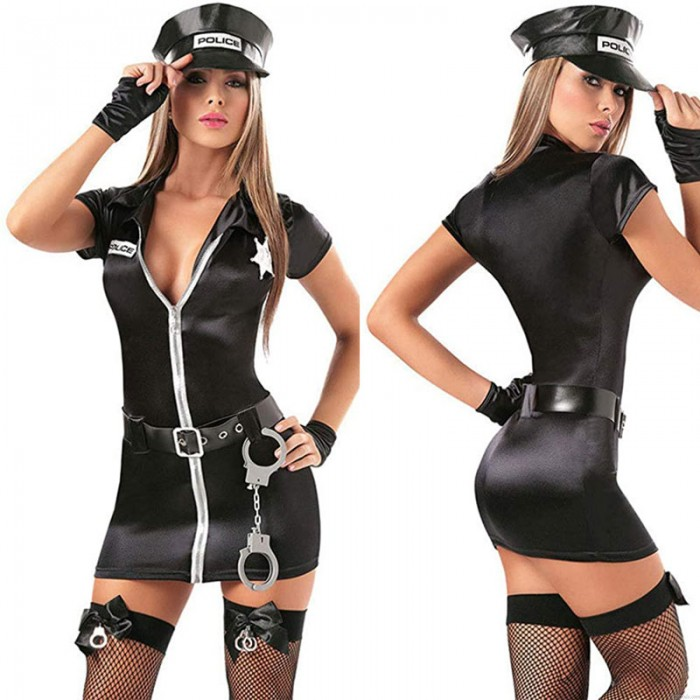 Sexy Policewoman Cosplay Costume Halloween Cop Officer Uniform Fancy Women's Police Dress Outfits Lingerie