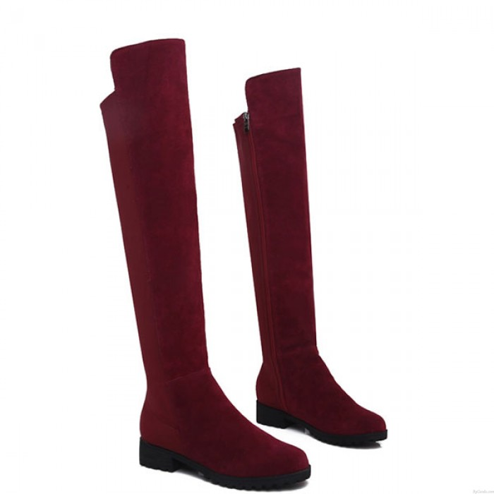 Cool Side Zipper Frosted Leather High Boots