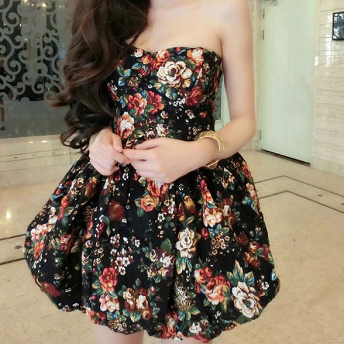 Slim Floral Print Winter Dress Party Dress