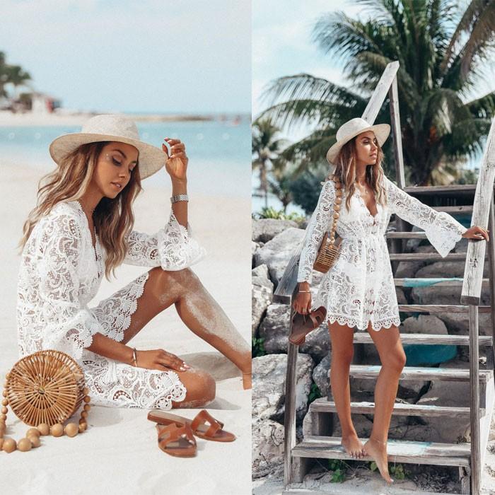 Leisure Lace Long Sleeve Sunscreen Summer Dress Skirt Beach Hollow Dress