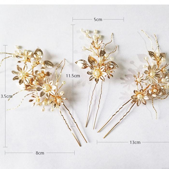 Sweet Handmade Bridesmaid Pearl Flower Branch Hairpin Bride Wedding Hair Accessories