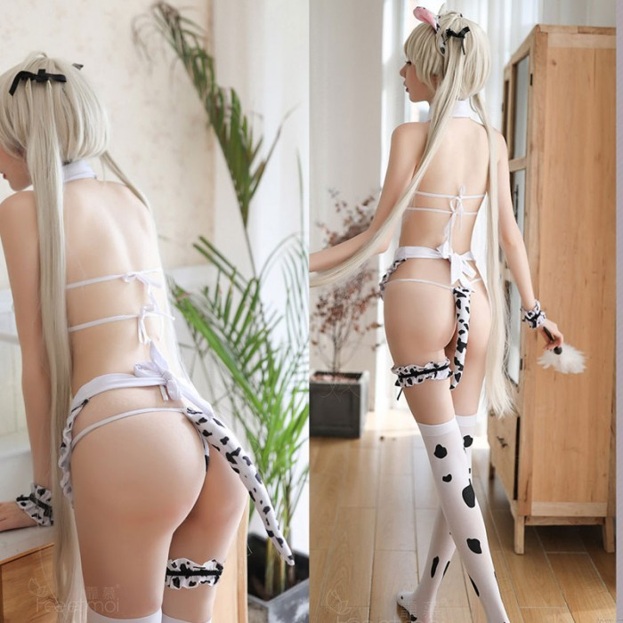 Sexy Cute Cow Maid Cosplay Lingerie For Women Uniform Temptation Bra Panty 2 Piece Set High Waist Bow Tie Neck Ring Lingerie
