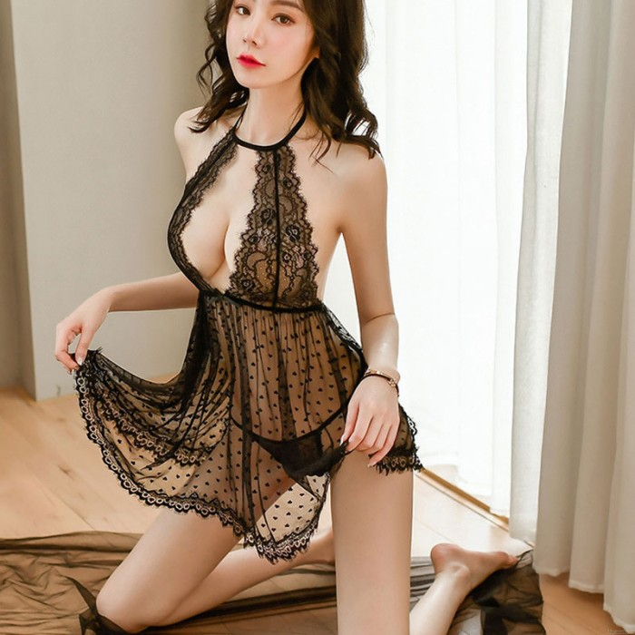 Sexy Lace Babydoll Back Transparent Mesh Temptation Pajamas Chemise Dot Halter Mesh Nightgown Lingerie