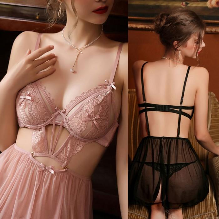 Sexy Babydoll For Women Perspective Backless Deep V Mesh Nightgown Bodysuit Chemise Pajamas Halter Lingerie