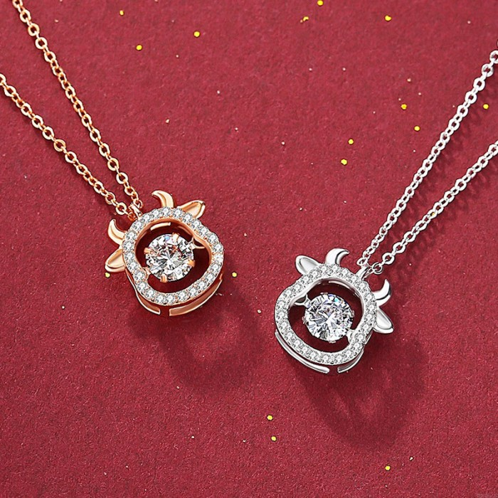 Fashion Cattle Head Zircon Turn Diamond Cow Head Pendant Silver Women Necklace