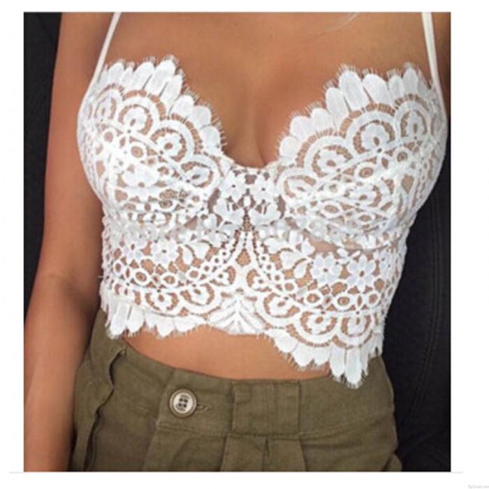 Summer Sexy Low-cut Halter Eyelash Lace Top Vest