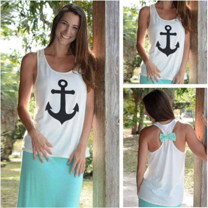 Thin Cool Navy Anchor Back Bow Vest Tank Top
