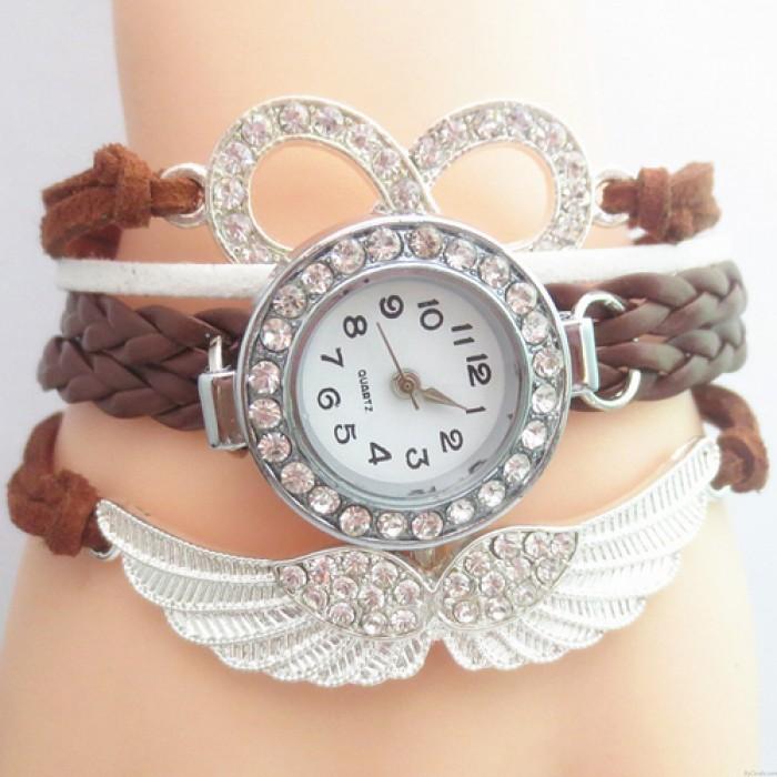 Original Angel Wings Rhinestone Braided Bracelet Watch