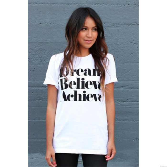 Dream Believe Achieve Crack Letters Printed Short-sleeved T-shirts