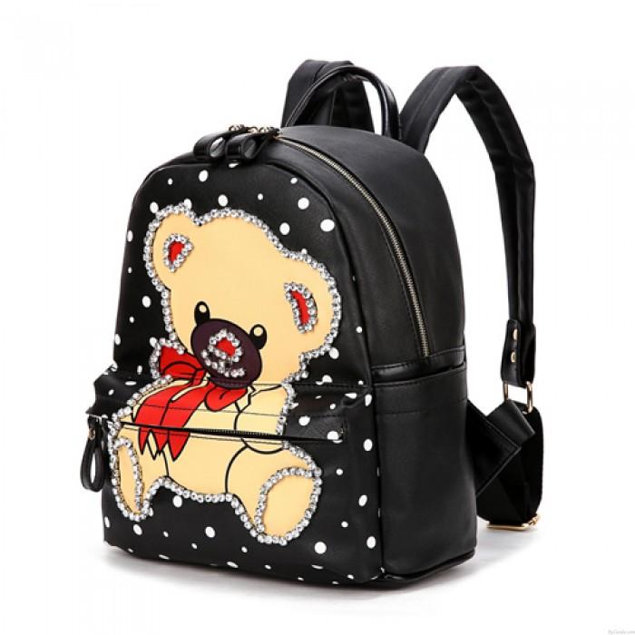 Hot Street Cute Bear Pattern Diamond Rivet Travel Backpack