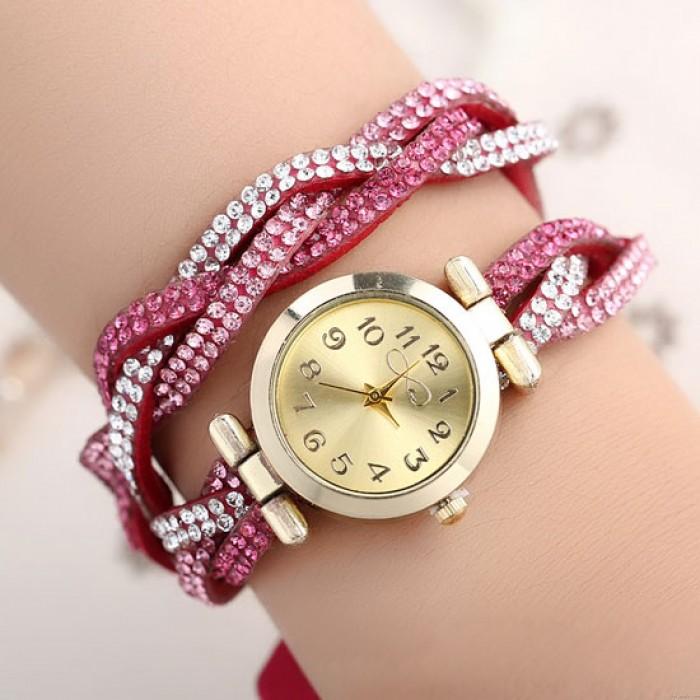 Colorful Cover Rhinestone Shining Weave College Women Bracelet Watch