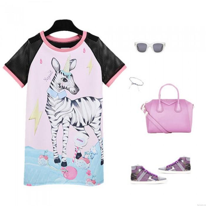 Fashion Lovely Cute Zebra Pattern Net-sleeve Mixed Color Long T-Shirt