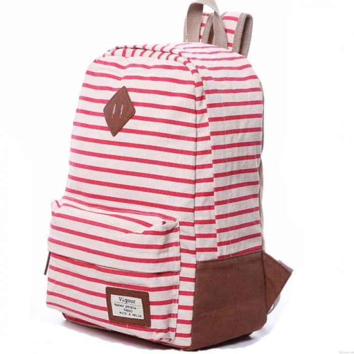 Red Summer Striped Leisure Canvas Backpack