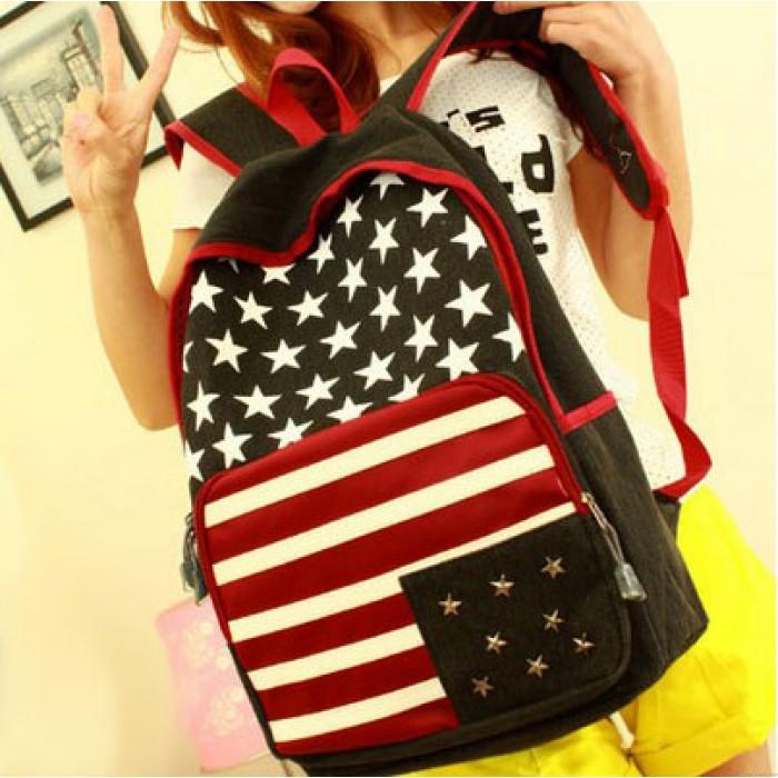 Fashion American Flag Rivet Canvas Backpack