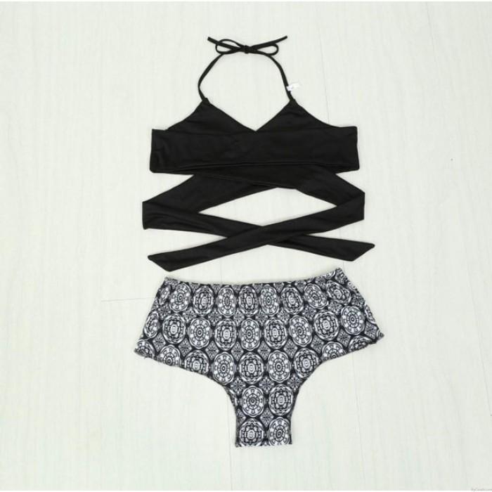 Halter Straps Irregular Printing Bikini Swimwear For Wommen