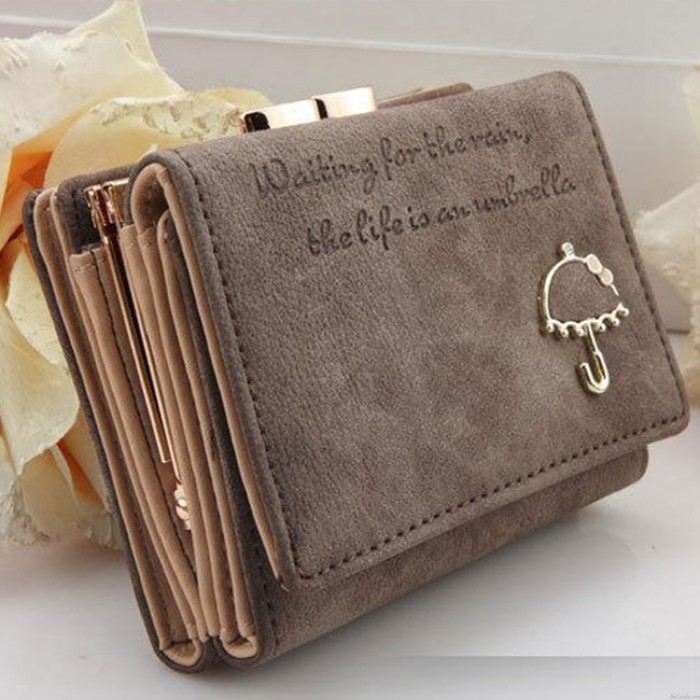 Cute Frosted Small Umbrella Short Ladies Wallet Purse