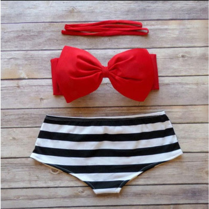 Boknow Black And White Striped High Waist Beach Swimwear
