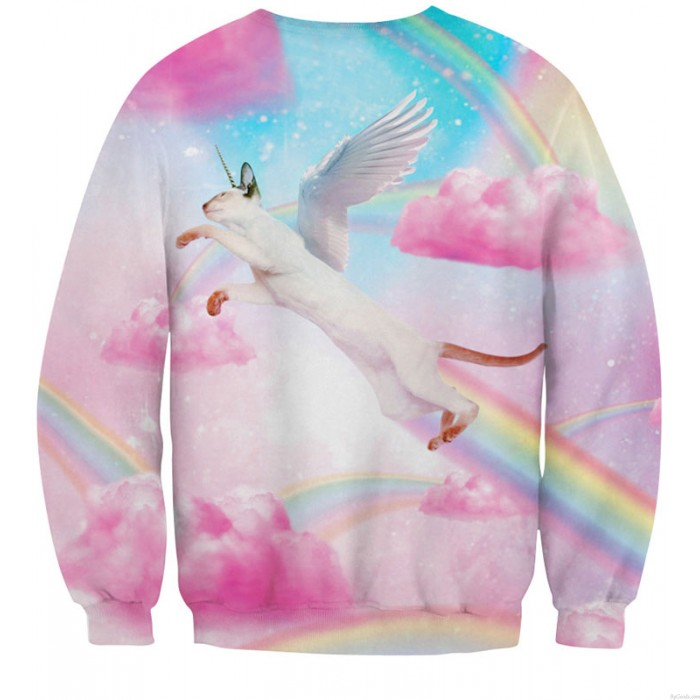 New Unique Pink Clouds Rainbow Printing Sweatshirts