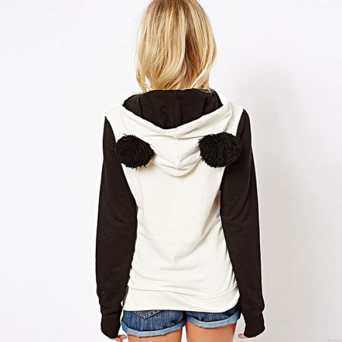 Winter Cute Hairball Panda Animals Hoodies Thicken Fleece Sweatshirts