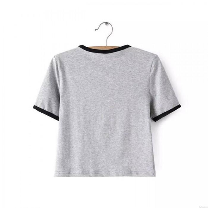 Alien Print Short-sleeved T-shirt Gray And Stripes