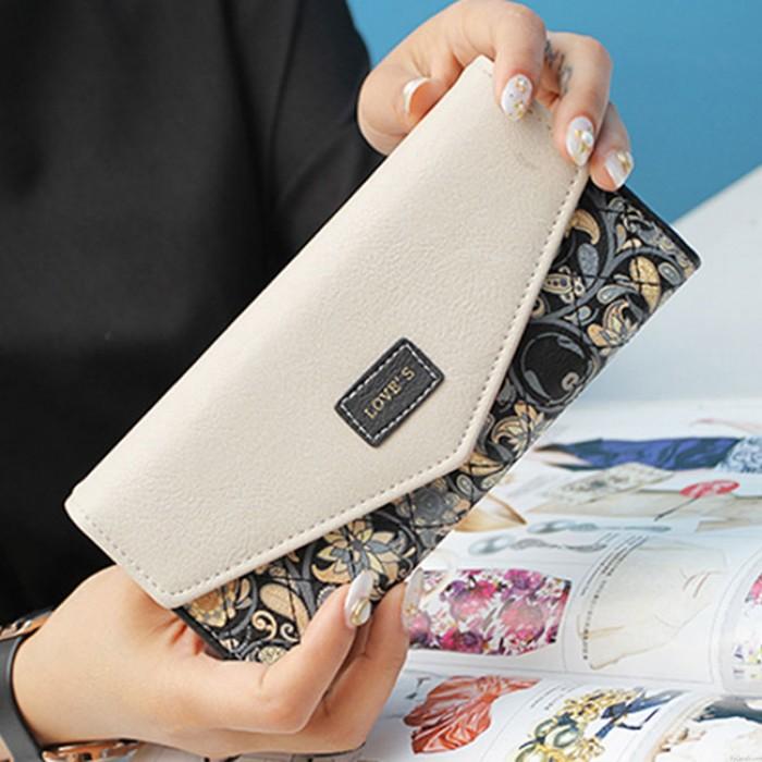 Unique Floral Purse Flower Printing Clutch Bag Long Ladies Wallet