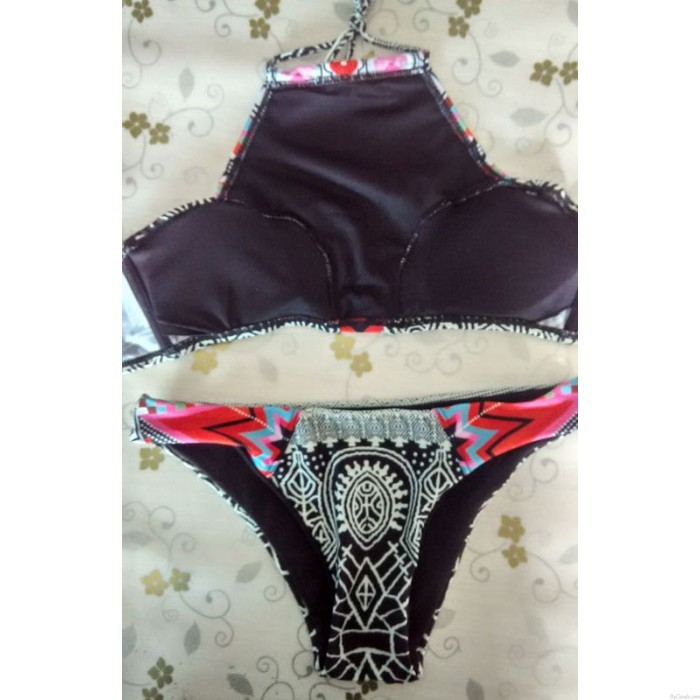 Sexy Geometry Push-up Swimsuit Bathing Suit Padded Bra Swimwear