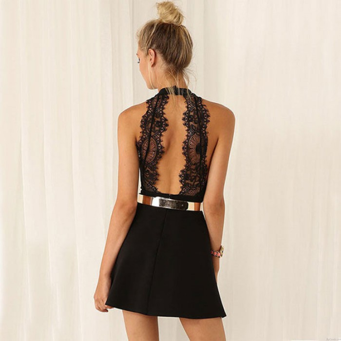 Fashion Black Sleeveless Halter Contrast Lace Backless Dress Party Dress
