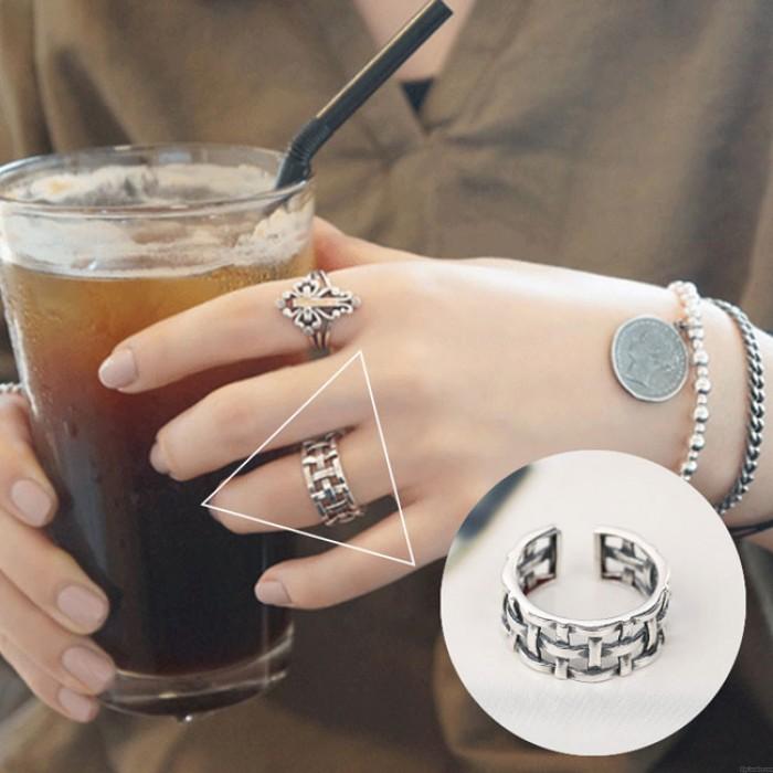 Vintage 925 Sterling Silver Women Open Weave Knot Rings