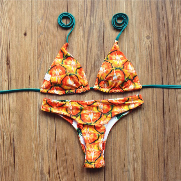 Halter Pineapple Print Multifunction Bikini Unique Swimsuit Bathing Suits Swimwear