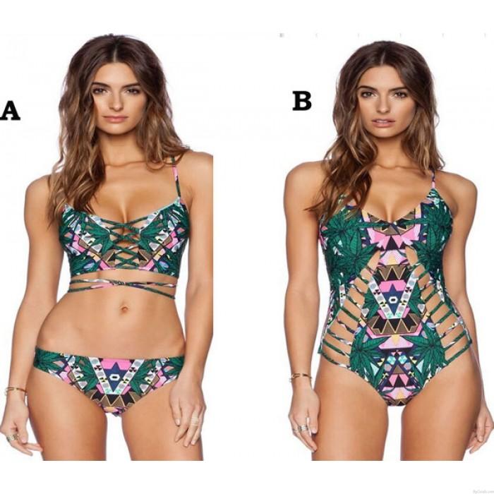 Totem Print Sexy Halter Bikinis Set Bandage Swimwear Beach Bathing Suit