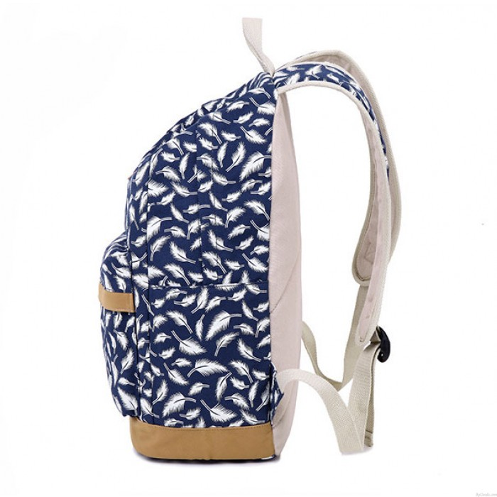 Fashion Feather Printed Canvas Casual Backpack Schoolbag