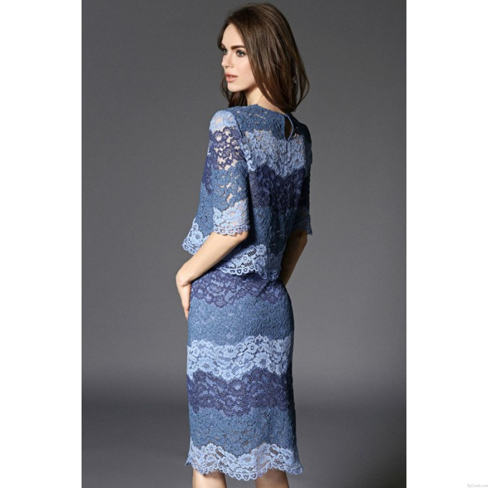 Sexy Contrasting Colors Hollow Out Two-piece Lace Skirt Suit Party Dress