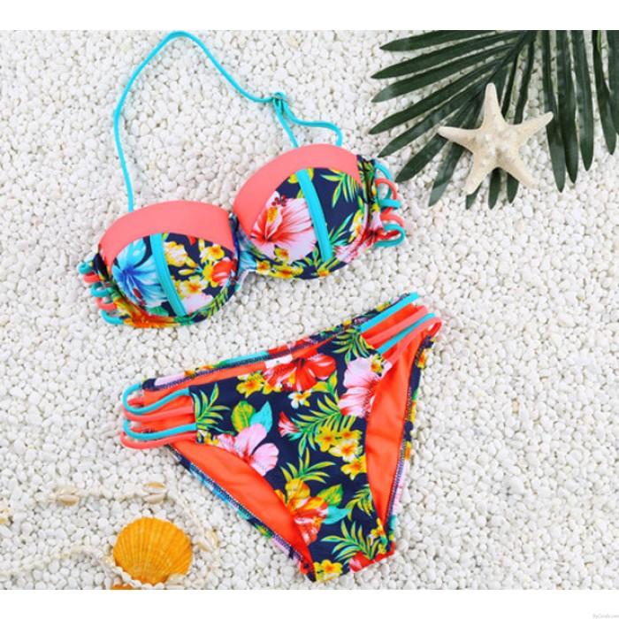 Bandage Palm Tree And Floral Printed Swimsuit Sexy Bikini Swimwear Bathingsuit