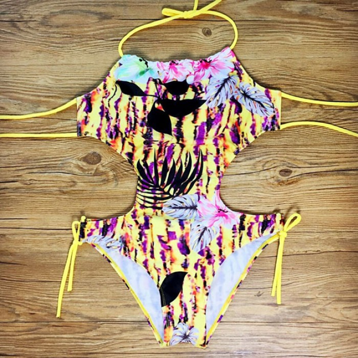 Hollow Bandage Bikini Set Halter One-piece Swimsuit Swimwear