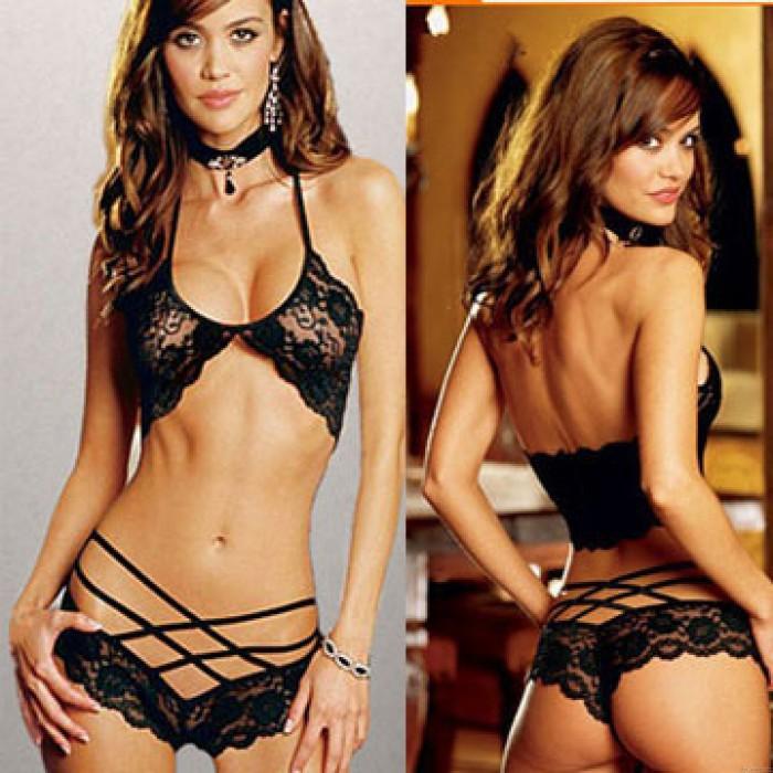 Sexy See Through Cross Straps Bikini Braces Underwear Women's Lace Lingerie