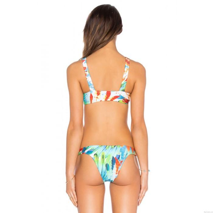 Painting Feather Bikini Set Swimsuit Tank Swimwear Tie-dye Bathingsuit