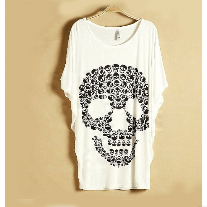 Punk Skull Printed Short-sleeved T-shirt