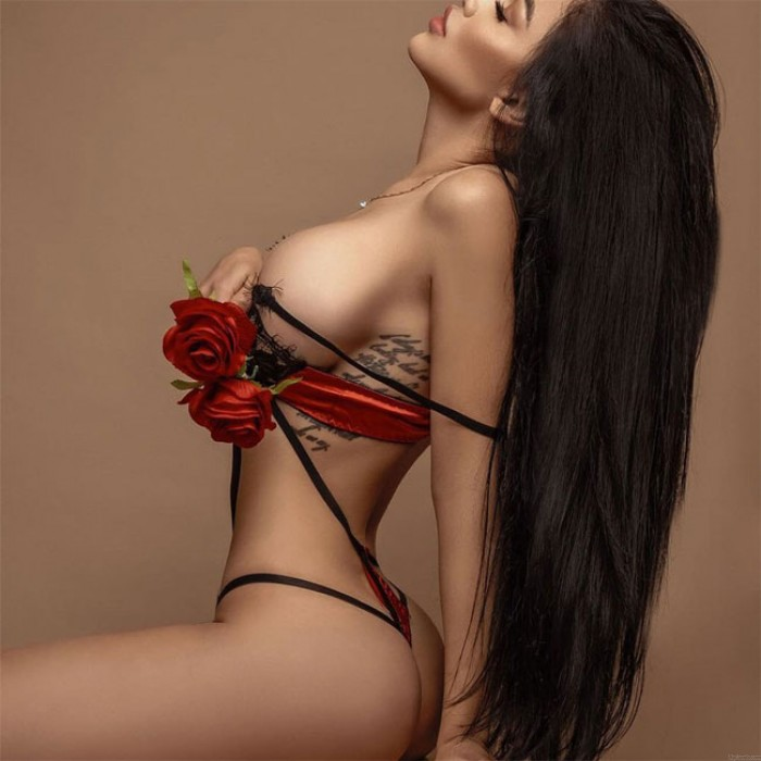 Sexy Red Splice Leaves Black Lace Bra Panty 2 Piece Set Women Intimate Lingerie