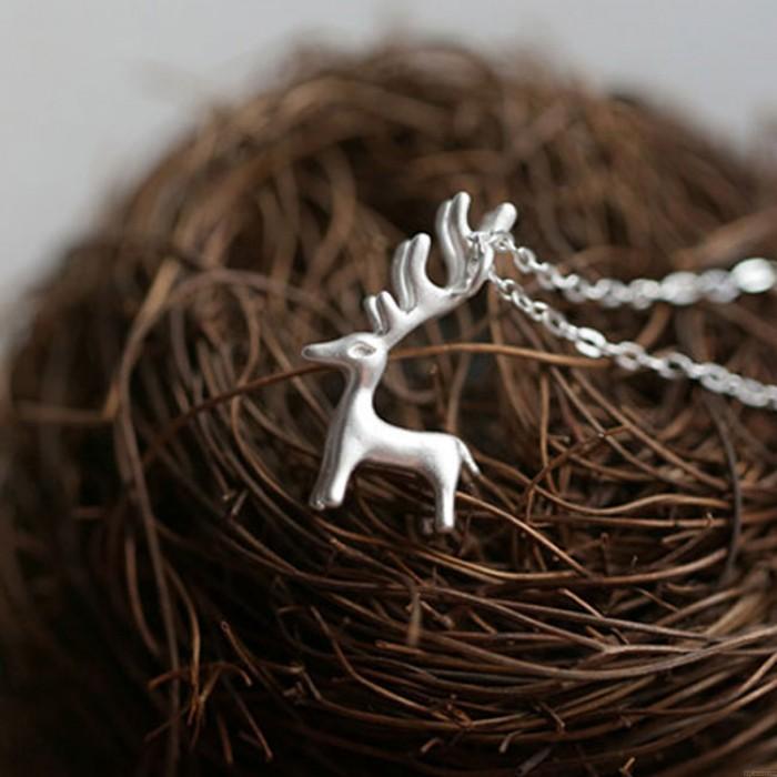 Cute Elk Pendant Necklace Fresh Silver Deer Animal Pendant Necklace