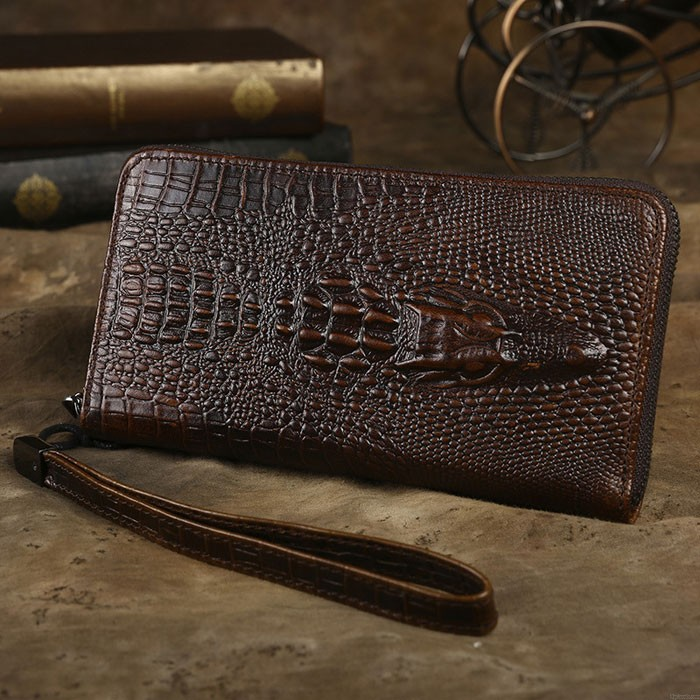 Retro 3D Crocodile Wallet Long Large Crocodile Skin Pattern Handmade Business Purse Phone Clutch Bag