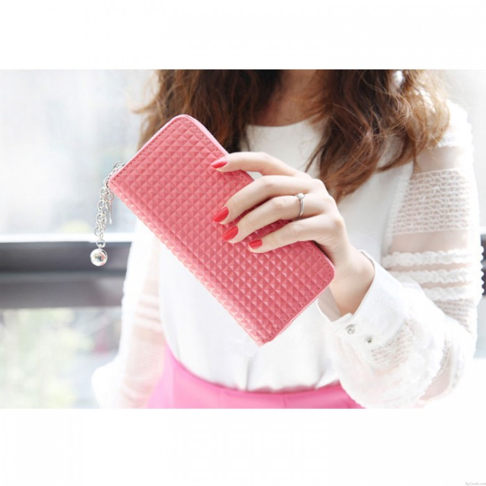 Fashion Zipper Patent Leather Geometry Embossed Wallet