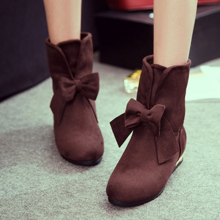 New Sweet Suede Bow Knot Female Ankle Boots