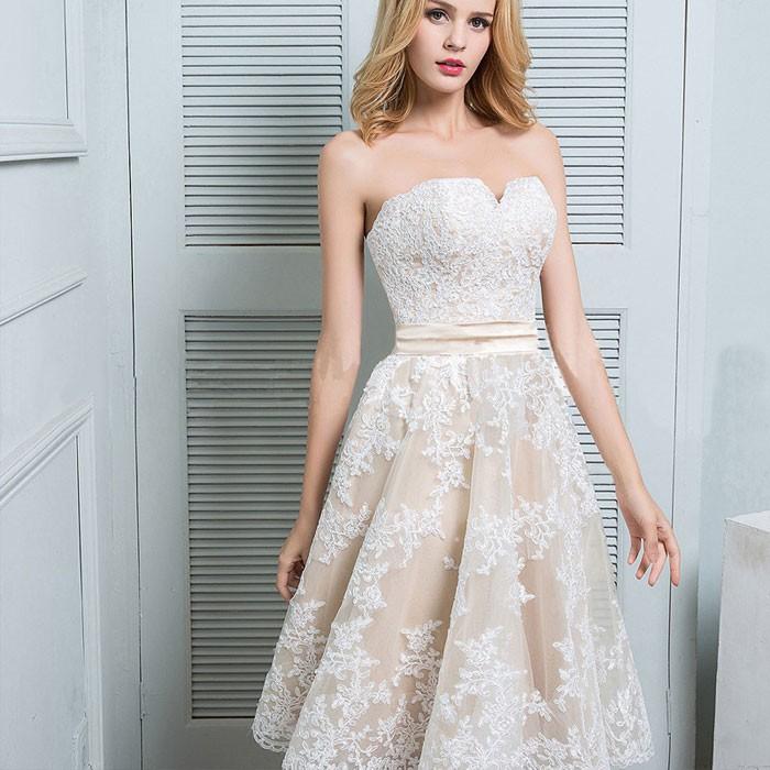 Elegant Leave Flower Lace Sleeveless Wrap Chest Bridesmaid Dress Prom Dress