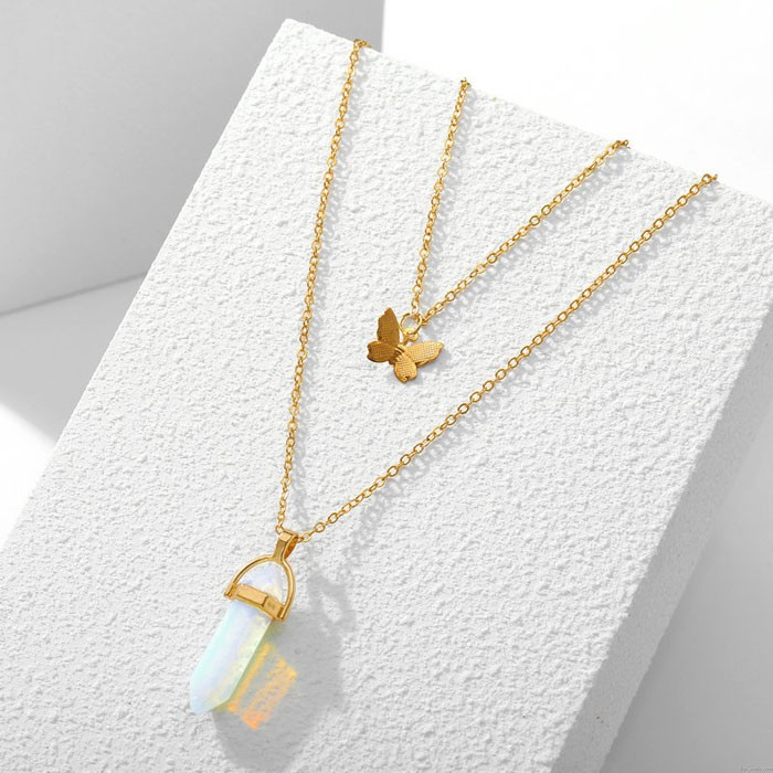 Unique Crystal Stone Butterfly Pendant Double Layer Women's Necklace