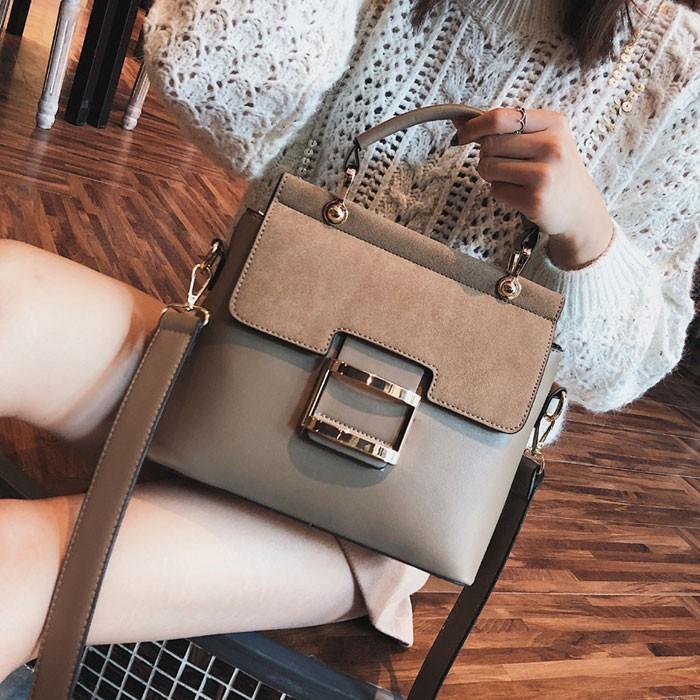 Fashion Single Buckle Portable Messenger Small Square Bag Frosted Shoulder Bag