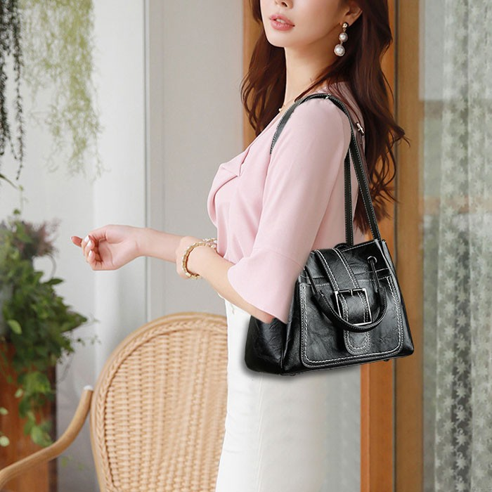 Leisure Crossbody Bags for Women Single Buckle Oil Leather Iron Handle Bucket Messenger Bag Handbag Shoulder Bag